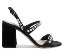 Verzierte Slingback-sandalen aus Veloursleder