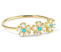 Ring aus 18 Karat  mit Diamanten und Türkisen