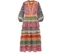 Amari Gestuftes Kleid aus Bedrucktem Chiffon aus einer Baumwoll-seidenmischung