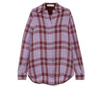 Oversized-hemd aus Kariertem Taft in Knitteroptik