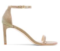 Nudist Sandalen aus Metallic-lamé