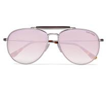 Silberfarbene Verspiegelte Pilotensonnenbrille