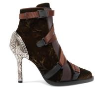Tracy Ankle Boots aus Leder und Samt
