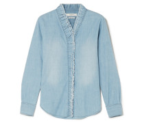 Lawendy Gerüschte Bluse aus Chambray