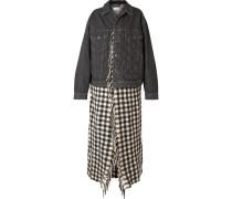 Mehrlagige Jacke aus Gestepptem Denim und Wolle
