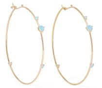 Creolen aus 14 Karat  mit Opalen und Diamanten