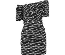 Schulterfreies Gerafftes Minikleid aus Stretch-satin