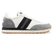 Verzierte Sneakers aus Satin, Leder und Veloursleder