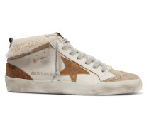 Mid Star Sneakers aus Leder, Veloursleder und Shearling in Distressed-optik
