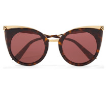 Goldfarbene Cat-eye-sonnenbrille