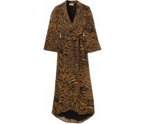 Wickelkleid aus Georgette mit Tigerprint