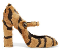 Mary-jane-pumps aus Faux Fur mit Tigerprint