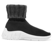 Sneakers aus Stretch- und Rippstrick
