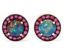 Ohrringe aus 18 Karat  mit Rubinen und Opalen