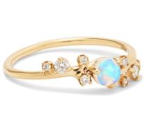 Ring aus 14 Karat  mit Opal und Diamanten
