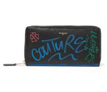 Bazar Graffiti Bedrucktes Portemonnaie aus Strukturiertem Leder