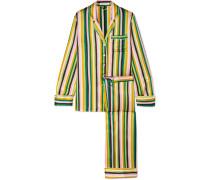 Lila Gestreifter Pyjama aus Seidensatin