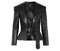 Jacke aus Strukturiertem Leder mit Schößchen