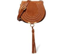 Marcie Mini Schultertasche aus Veloursleder und Strukturiertem Leder