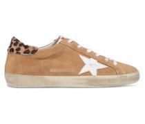 Superstar Sneakers aus Veloursleder und Kalbshaar in Distressed-optik