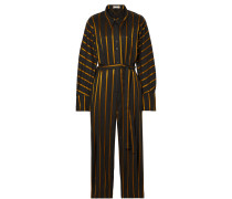 Solo Jumpsuit aus Gestreiftem Jacquard in Metallic-optik