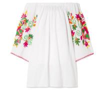 Schulterfreies Minikleid aus Bestickter Baumwolle in Knitteroptik