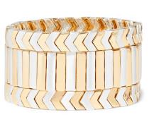 Brocade Set aus Drei - und Silberfarbenen Armbändern