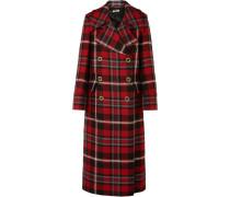 Oversized-mantel aus Wolle mit Tartan-muster