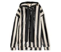 Gestreifter Oversized-hoodie aus Paillettenbesetztem Tüll