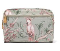 + Johanna Ortiz Green Bird Mittelgroße Kosmetiktasche aus Bedrucktem Canvas