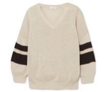 Baumwollpullover mit Streifen und Zierperlen