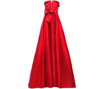 Robe aus Glänzendem Twill mit Schleife