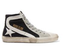 Slide High-top-sneakers aus Veloursleder in Distressed-optik