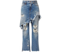 Double Classic Halbhohe Distressed-jeans
