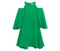 Minikleid aus Twill mit Cut-outs und Rüschen
