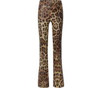Schlaghose aus Leder mit Leopardenprint
