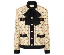 Jacke aus Seiden-marocain mit Blumenprint