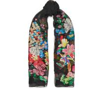 Bestickter Schal aus Georgette aus einer Seidenmischung