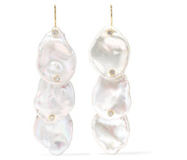 Ohrringe aus 14 Karat  mit Perlen und Diamanten