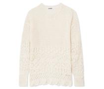 Pullover aus Baumwolle in Häkeloptik
