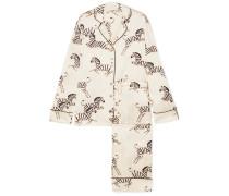 Lila Pyjama aus Bedrucktem Seidensatin