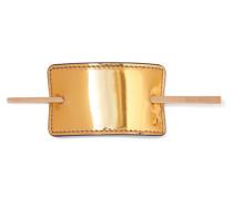 Haarspange aus Metallic-leder