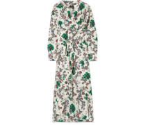 Calypso Wickelkleid aus Floral Bedrucktem Crêpe De Chine aus einer Seidenmischung