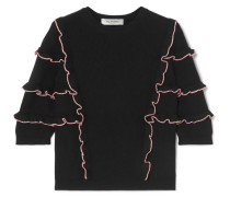 Pullover aus Gerippter Baumwolle mit Rüschen