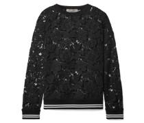 Sweatshirt aus Schnurgebundener Spitze aus einer Baumwollmischung
