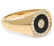 Ring aus 14 Karat  mit Onyx und Diamanten