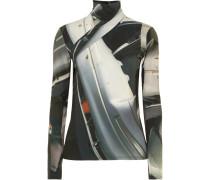 Stehkragenoberteil aus Bedrucktem Stretch-jersey