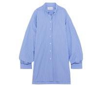 Gestreiftes Hemdblusenkleid aus Baumwollpopeline in Oversized-passform