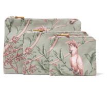 + Johanna Ortiz Green Bird Set aus Drei Bedruckten Kosmetiktaschen aus Canvas