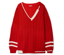 Oversized-pullover aus Gerippter Wolle